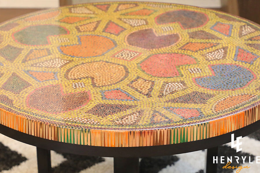 8 Water Lily Leaves Colored-Pencil Coffee Table 3