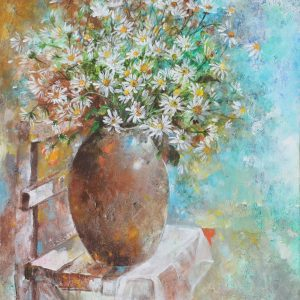 Abstract - Vietnamese Oil Paintings Flower by Artist An Dang