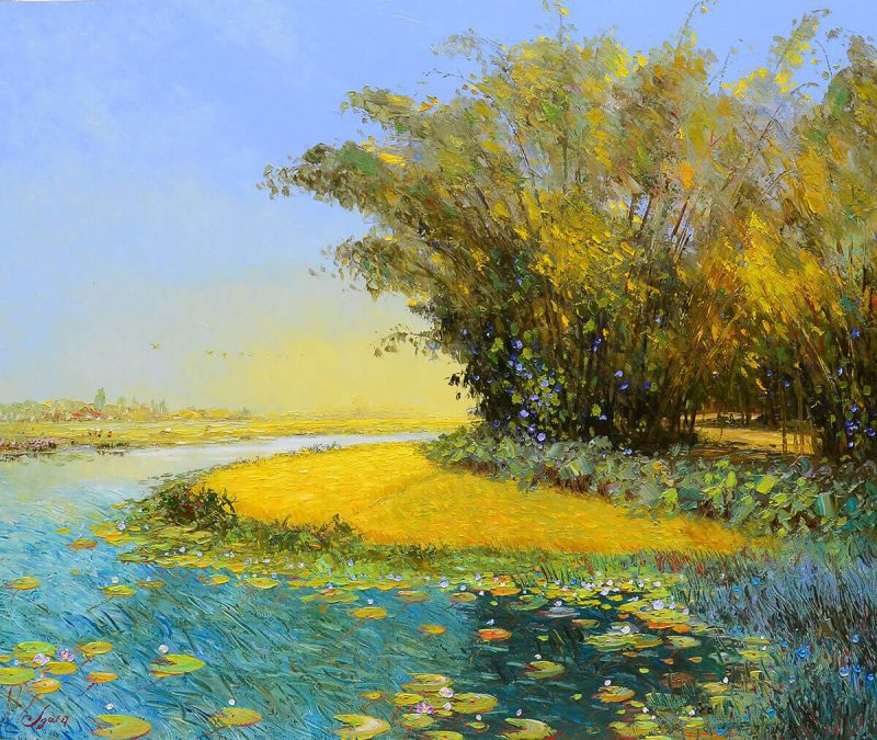 Afternoon Sunlight III - Vietnamese Oil Painting Landscape of Dang Dinh Ngo