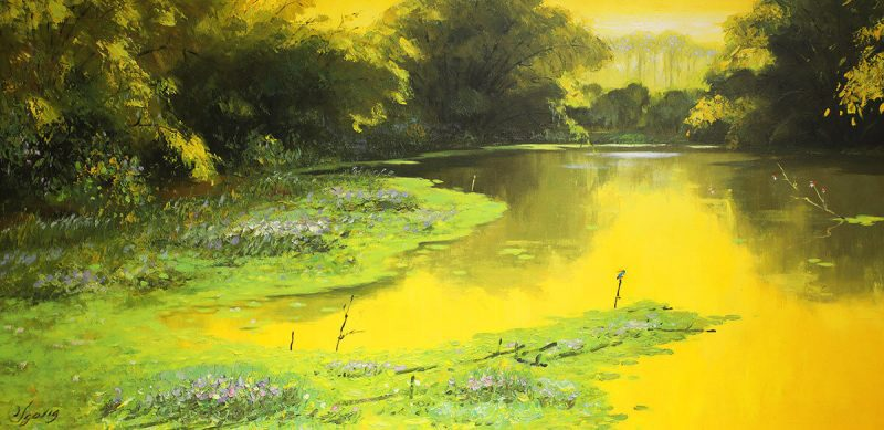 Afternoon Sunlight - Vietnamese Oil Painting Landscape of Dang Dinh Ngo