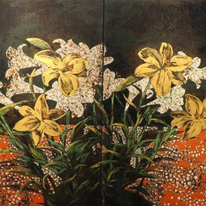 April Flowers - Vietnamese Lacqure Painting by Artist Trinh Que Anh