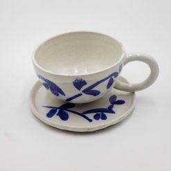 Art Ceramic Tea Cup with Bamboo Decor