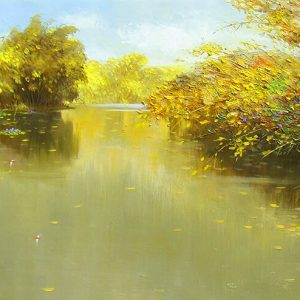 Autumn Pond - acrylic paintings on canvas