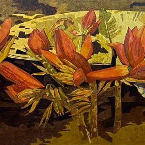 Banana Flower 03 - Vietnamese Lacquer Paintings by Artist Do Khai