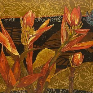 Banana Flower 04 - Vietnamese Lacquer Paintings by Artist Do Khai