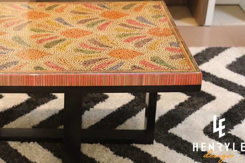 Blooming Fireworks Colored-Pencil Coffee Table 2