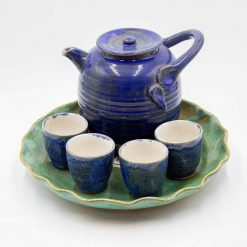 Blue Crystalline Tea Pot and Cups Full Set