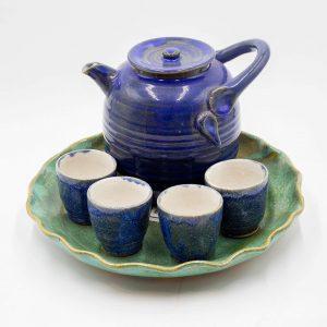 Blue Crystalline Tea Pot and Cups Full Set