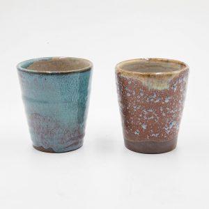 Blue and Brown Vanity Ceramic Cups