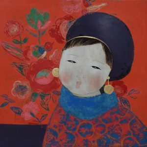 Bong - The Little Girl - Vietnamese Lacquer Paintings by Artist Dang Hien