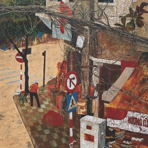 Crossroads - Vietnamese Lacquer Painting by Artist Trinh Que Anh