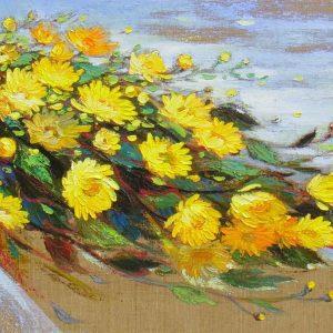 Daisies II - Vietnamese Oil Painting Flower by Artist Dang Dinh Ngo
