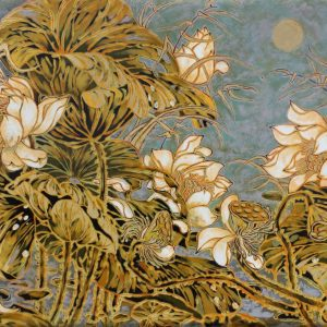 Early Lotus IV Vietnamese Lacquer Painting by Artist Nguyen Hong Giang