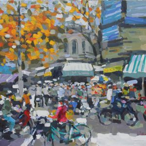 Early winter on street corner, Paintings in Vietnam