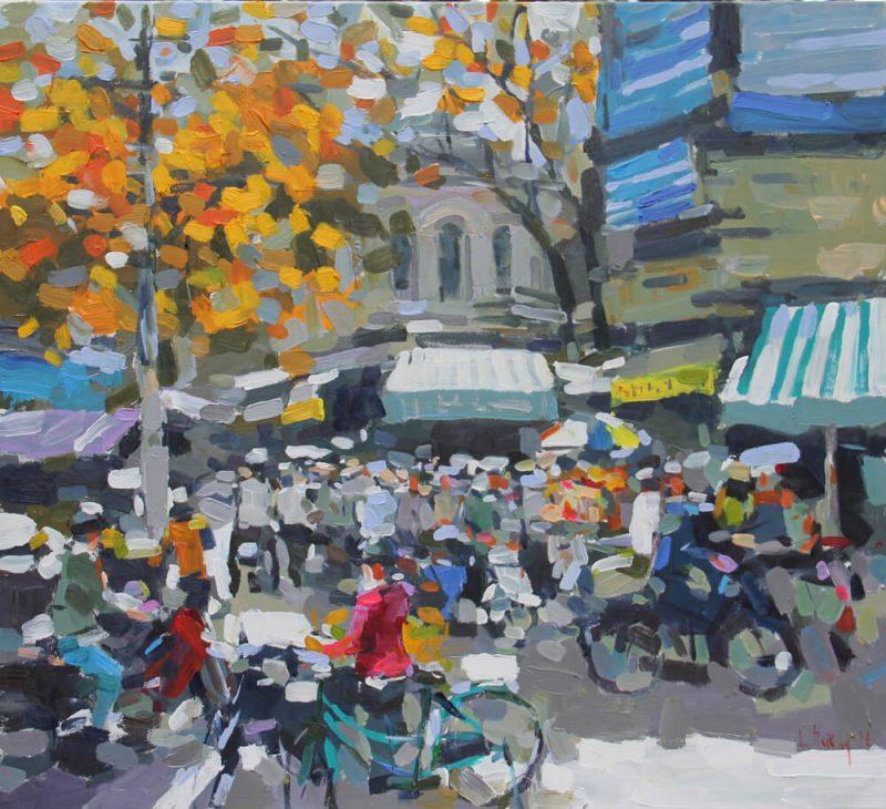 Early winter on street corner, Paintings in Vietnam
