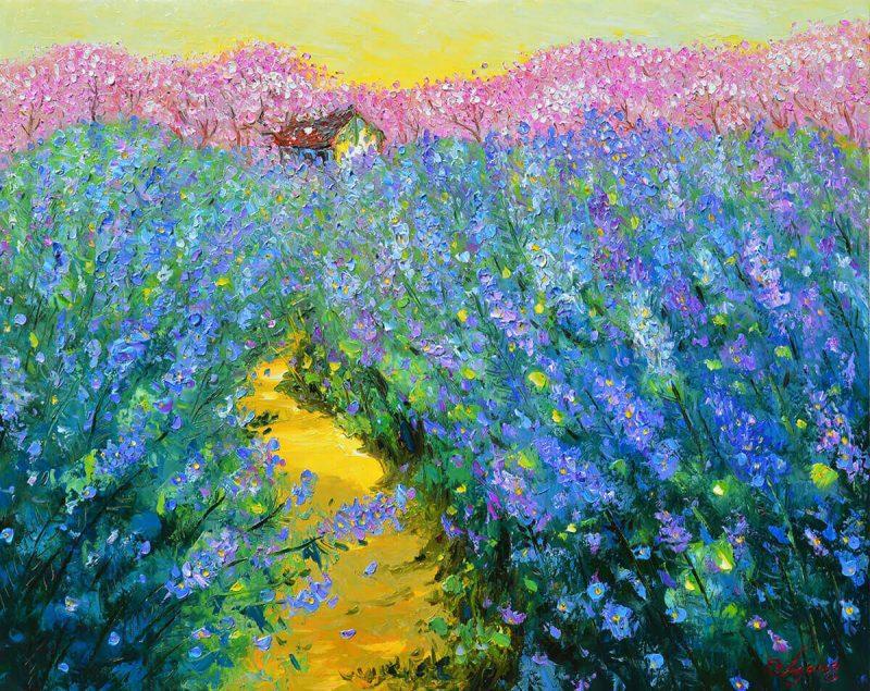 Garden in the Spring II - famous oil artworks of vietnamese painter