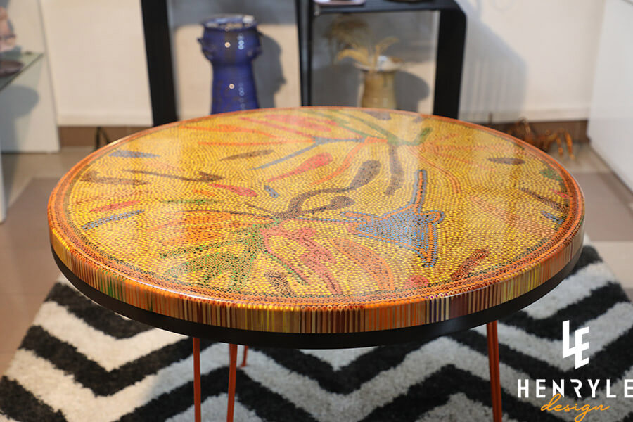 Golden Autumn Colored-Pencil Coffee Table I 2
