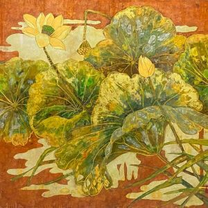 Golden Lotus - Vietnamese Lacquer Paintings on Wood by Do Khai