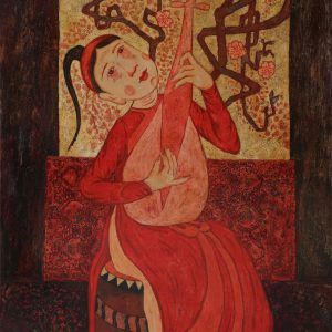 Graceful Lady I - Vietnamese Lacquer Painting by Artist Ngo Ba Cong
