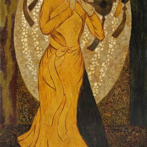 Graceful Lady II - Vietnamese Lacquer Painting by Artist Ngo Ba Cong