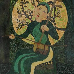 Graceful Lady III - Vietnamese Lacquer Painting by Artist Ngo Ba Cong
