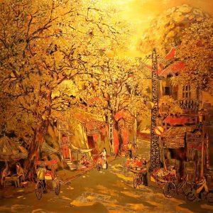 Hang Bun Street II - Vietnamese Lacquer Painting by Artist Nguyen Hong Giang