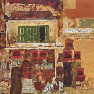 Hang Quat Street - Vietnamese Lacquer Painting by Artist Trinh Que Anh