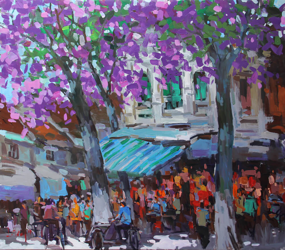 Hanoi Shops at street corner 1, Best Vietnam Art galleries