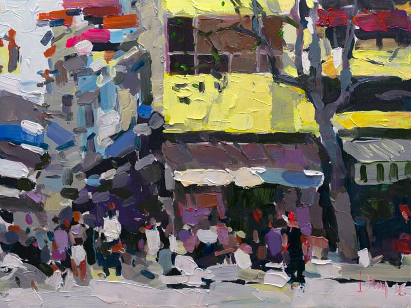 Hanoi Street corner in the Fall, Art Paintings in Vietnam