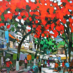 Hanoi Street in summer day, Vietnam Art Paintings