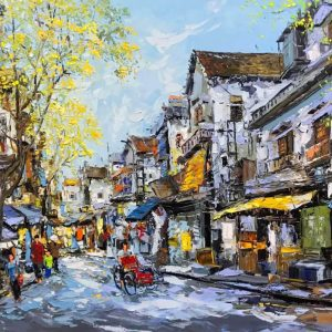 Hanoi in Fall - vietnamese acrylic paintings