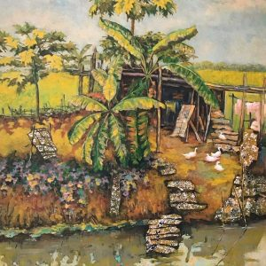 Home Love - Vietnamese Lacquer Painting by Artist Nguyen Xuan Viet