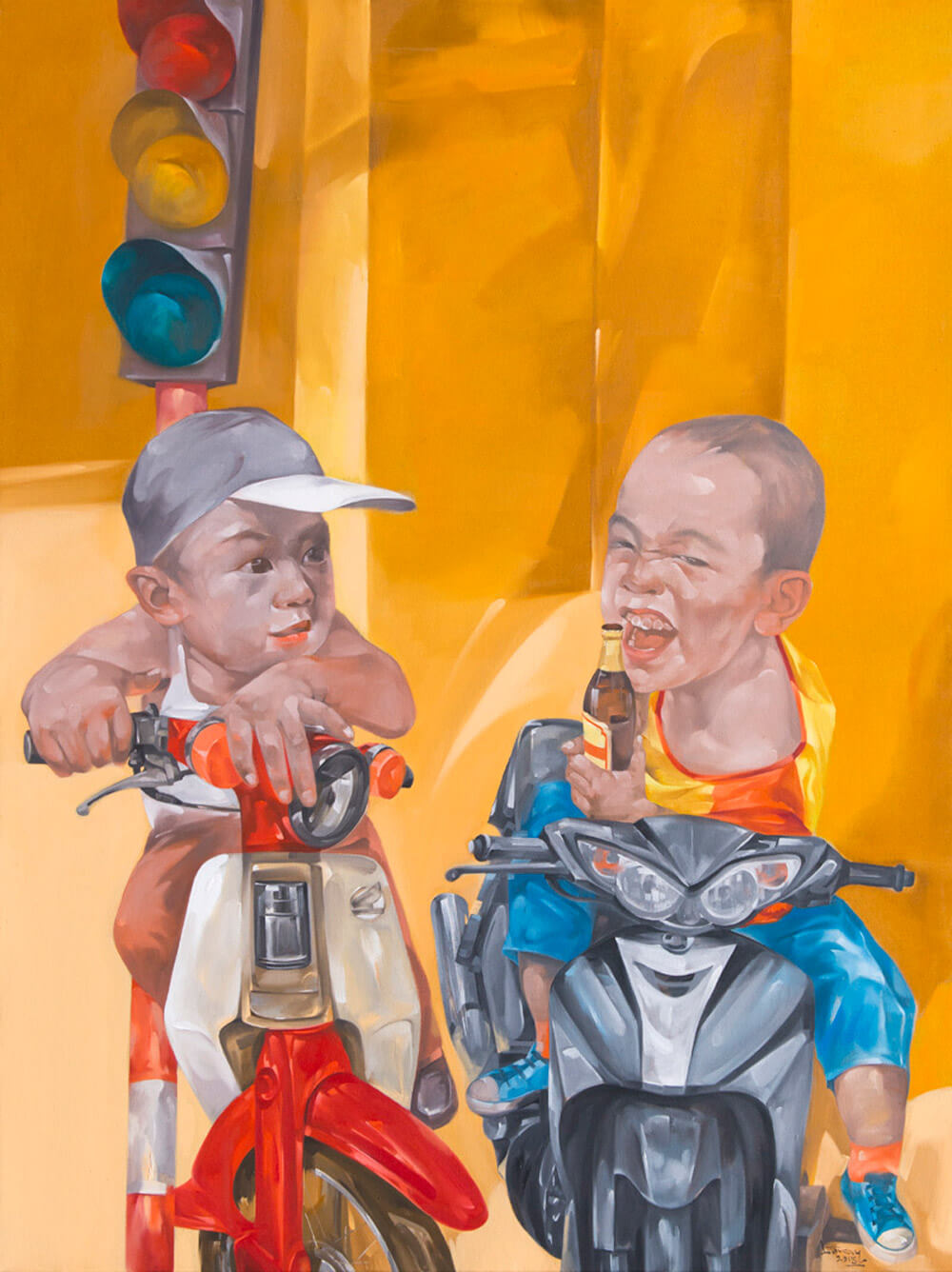 Hurry meal in oil in canvas, Hanoi art gallery
