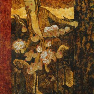 Lady & Lotus I - Vietnamese Lacquer Paintings by Artist Ngo Ba Cong