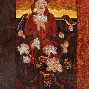 Lady & Lotus II - Vietnamese Lacquer Paintings by Artist Ngo Ba Cong