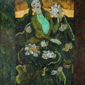 Lady & Lotus III - Vietnamese Lacquer Paintings by Artist Ngo Ba Cong