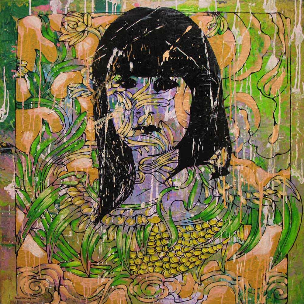Lady in the garde, Vietnam Art Paintings
