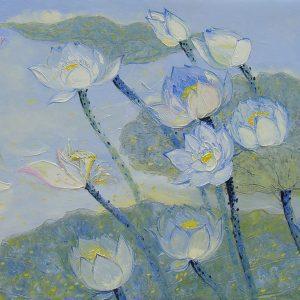 Lotus I - Oil Paintings Flower by Artist Dang Dinh Ngo