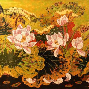 Lotus II - lacquer painting by tran thieu nam