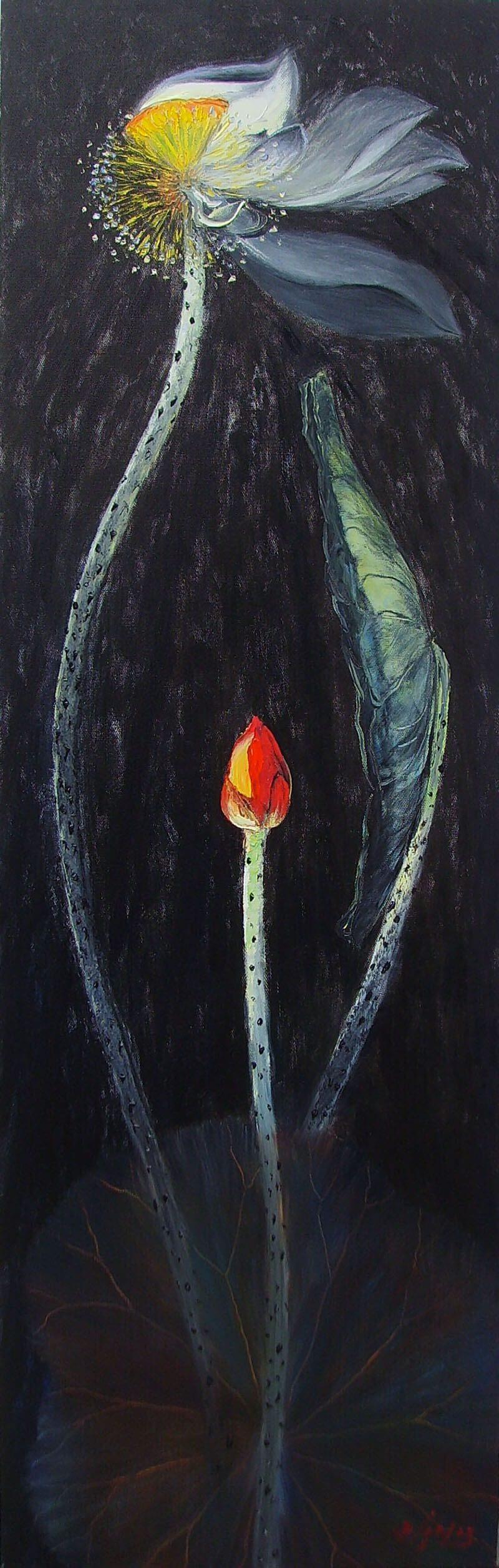 Lotus IV - Oil Paintings Flower by Artist Dang Dinh Ngo