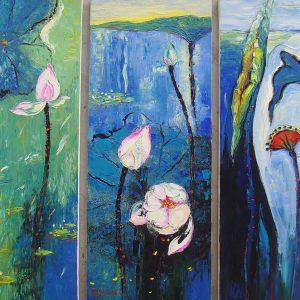 Life of Lotus - Vietnamese Oil Paintings of Flower by Artist Dang Dinh Ngo