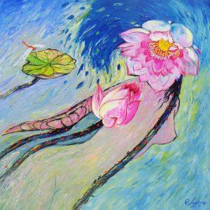 Love of Lotus II - Vietnamese Oil Paintings of Flower by Artist Dang Dinh Ngo