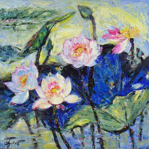 Love of Lotus I - Vietnamese Oil Paintings of Flower by Artist Dang Dinh Ngo