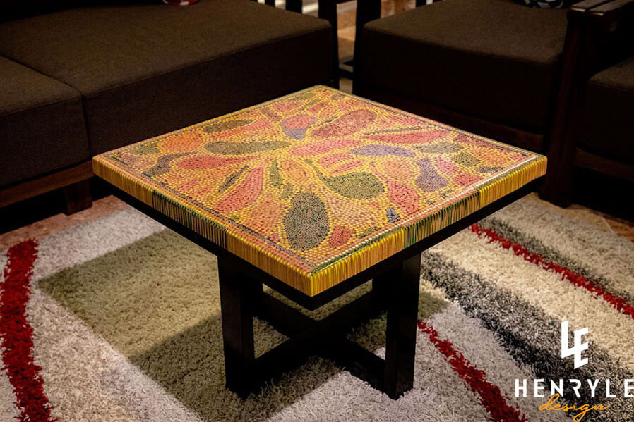 Lotus Pond Colored Pencil Coffee Table V 1