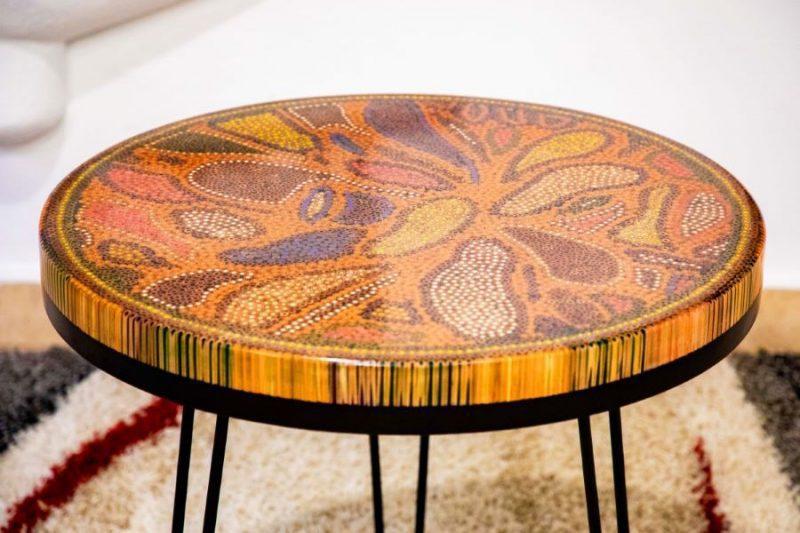 Lotus Pond Colored Pencil Coffee Table VI