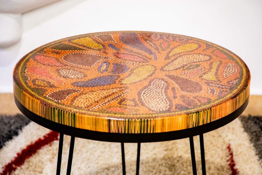 Lotus Pond Colored Pencil Coffee Table VI