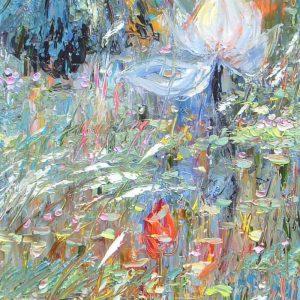 Lotus V - Vietnamese Oil Paintings of Flower by Dang Dinh Ngo