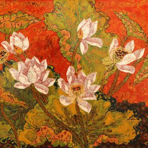 Lotus V - lacquer paintings by artist tran thieu nam