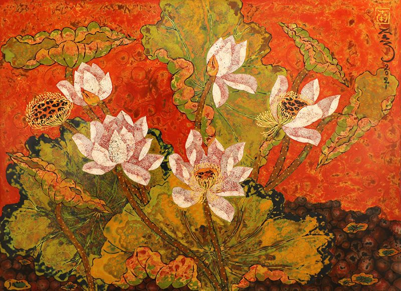 Lotus V - Vietnamese Lacquer Paintings of Flower by Artist Tran Thieu Nam