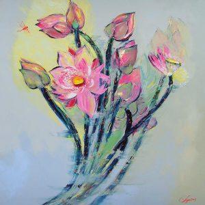 Lotus III - Vietnamese Oil Paintings of Flower by Dang Dinh Ngo
